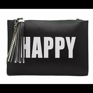 Melie Bianco Happy Sad Clutch Handbag Vegan Purse